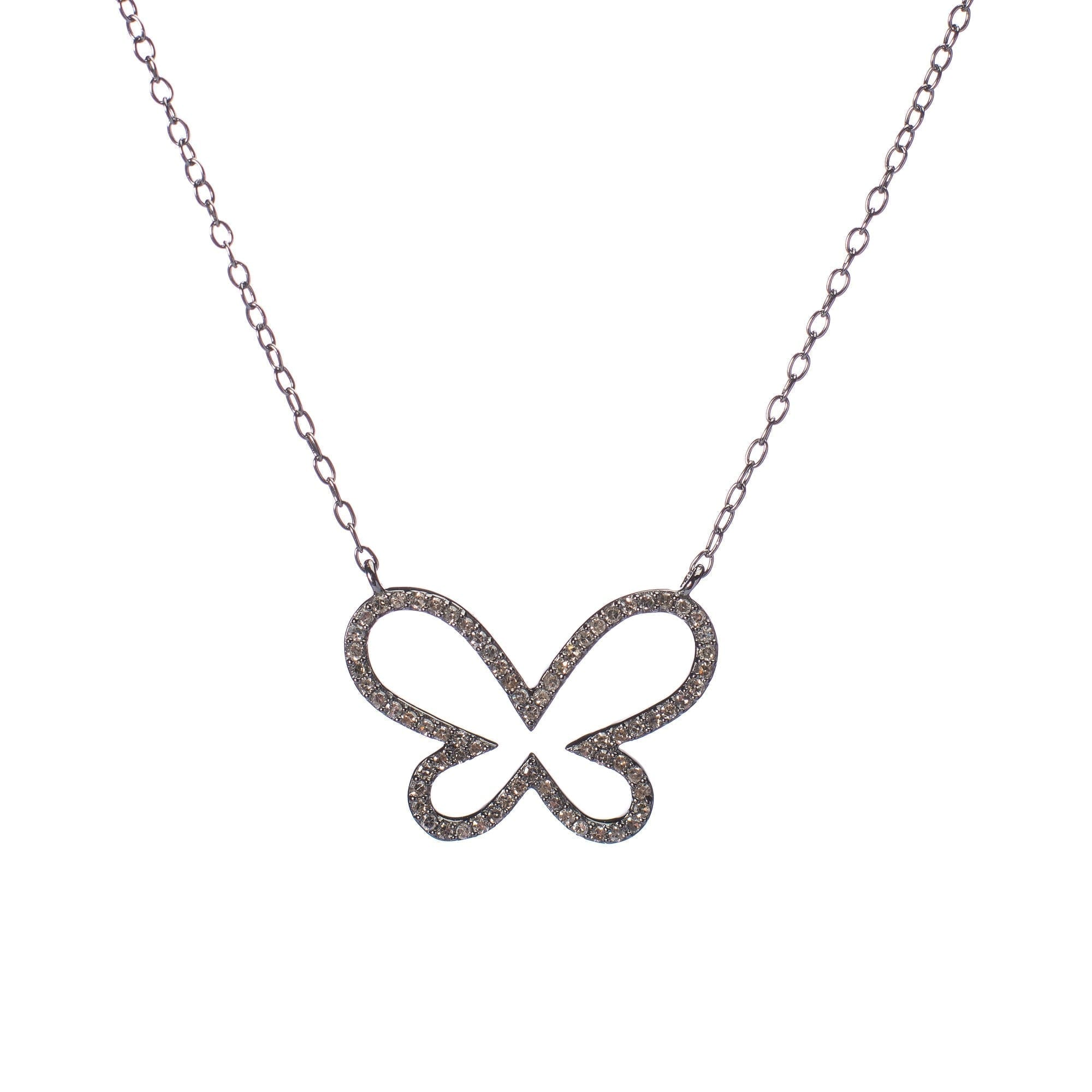 Diamond Open Butterfly Necklace