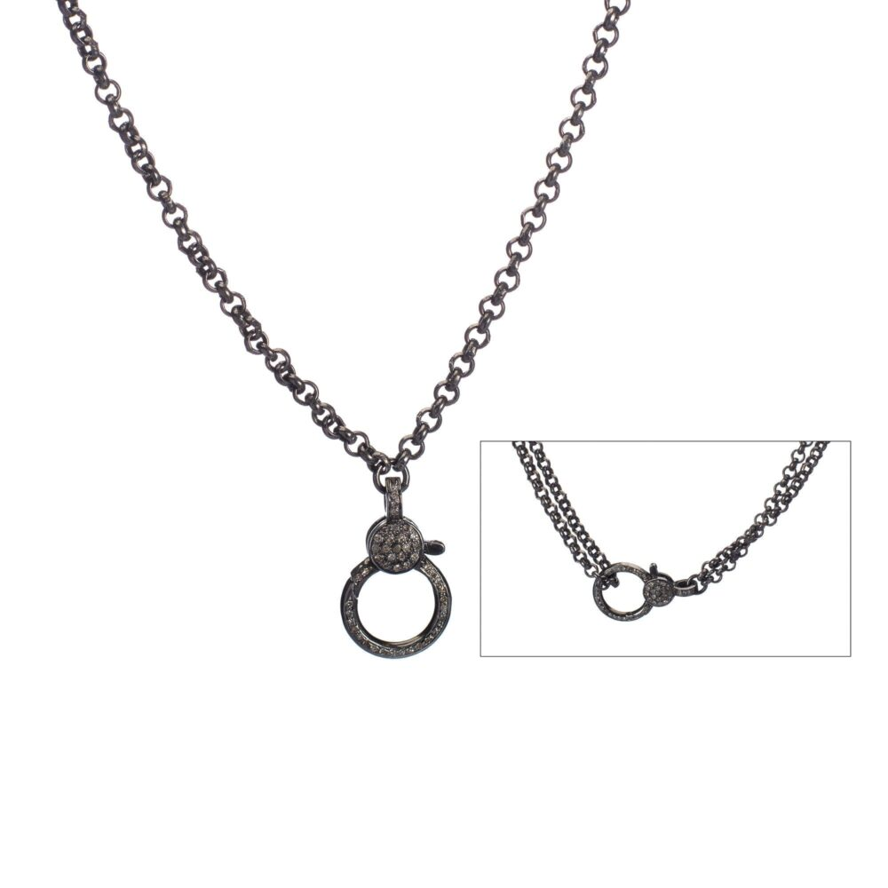 Medium Diamond 2-Sided Clasp Double Chain Necklace
