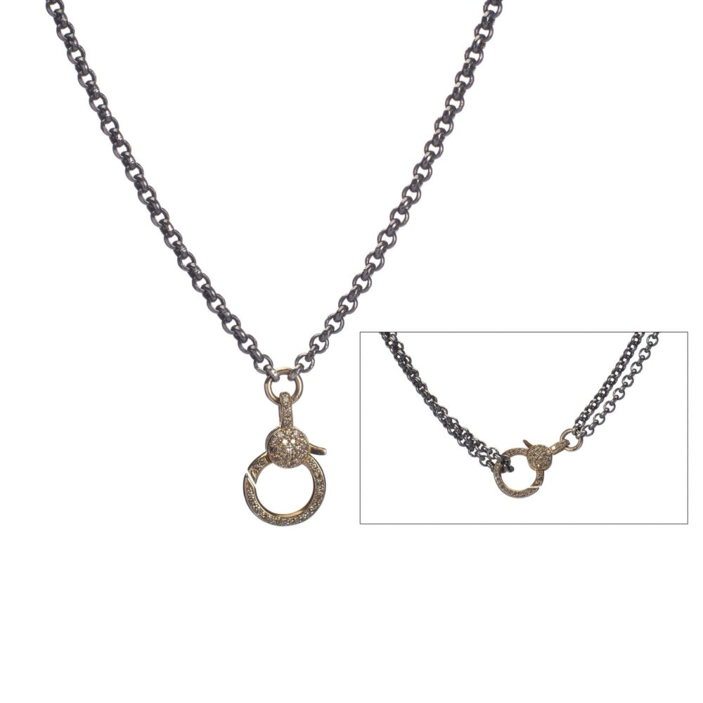 Medium Diamond 2-Sided Clasp Double Chain Necklace