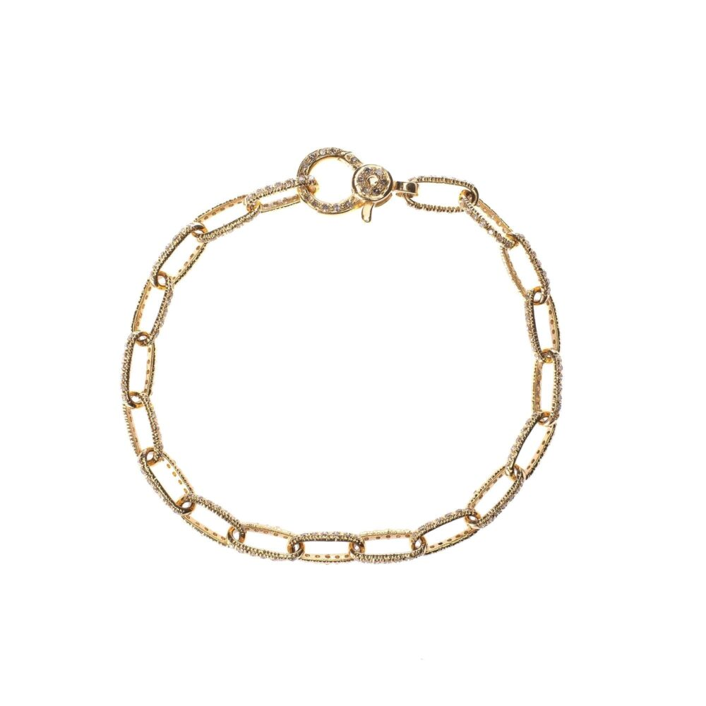 Diamond Link Bracelet with Diamond Clasp