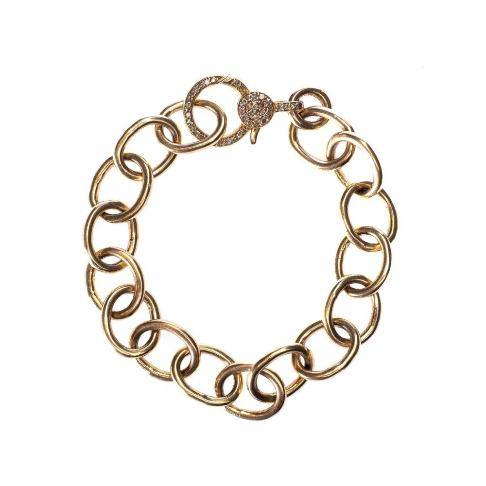 Large Chain Bracelet with Diamond Clasp
