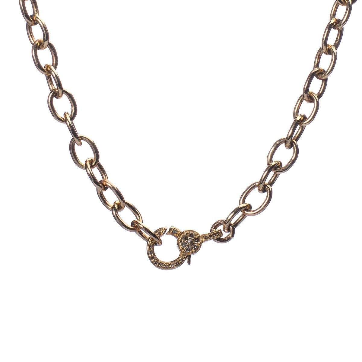 Mini Diamond 2-Sided Clasp Gold Chain Necklace