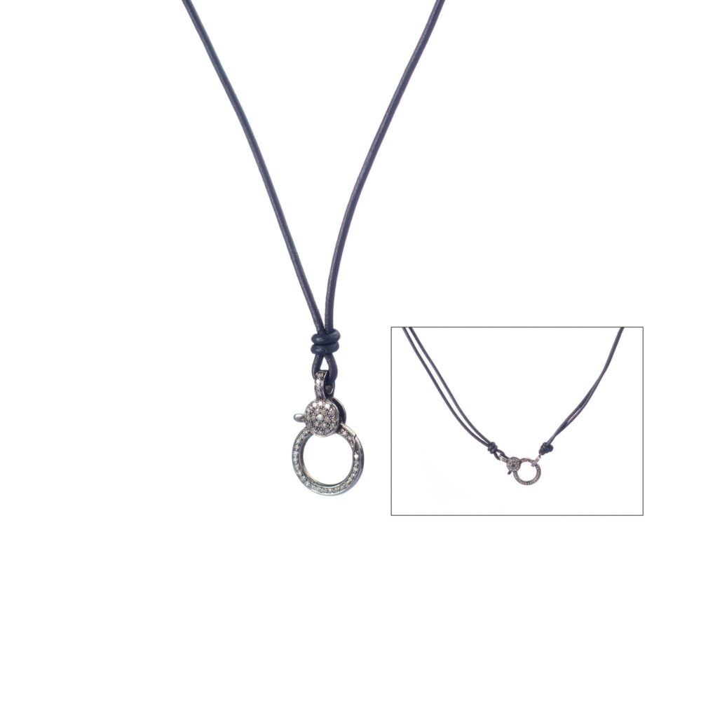 Medium Diamond Clasp Leather Necklace