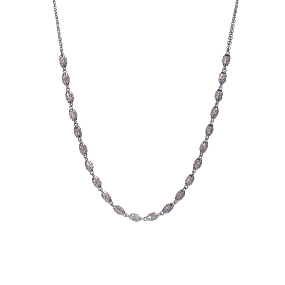 Pave Diamond Beaded Necklace
