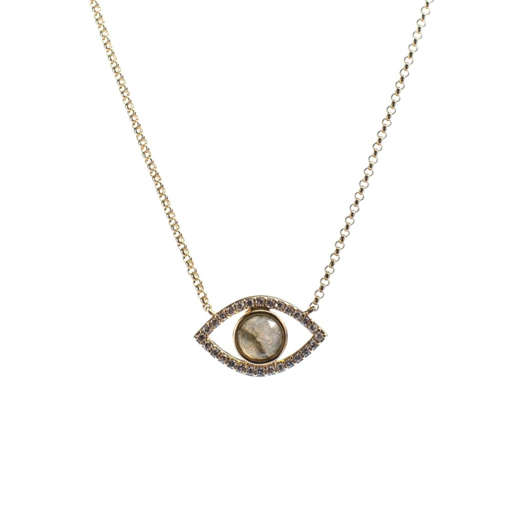 Diamond + Moonstone Evil Eye Necklace
