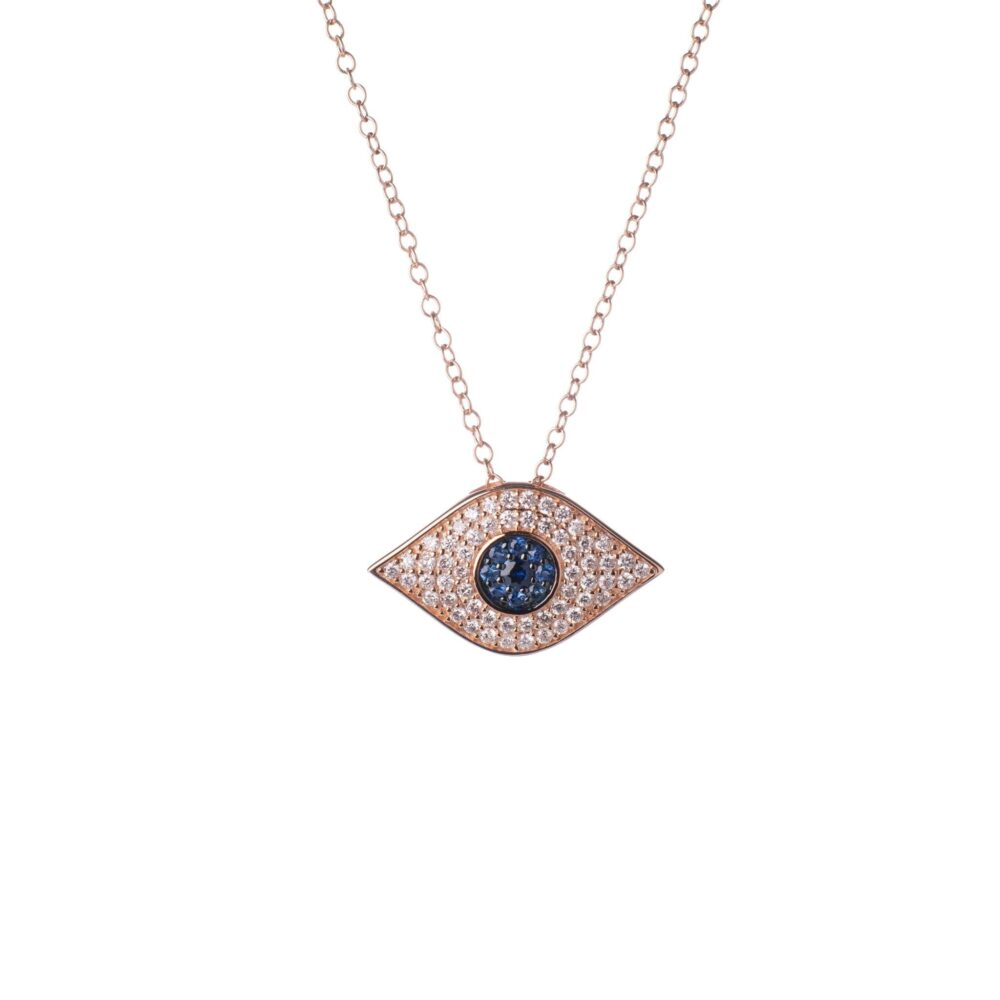 Diamond + Sapphire Evil Eye Necklace