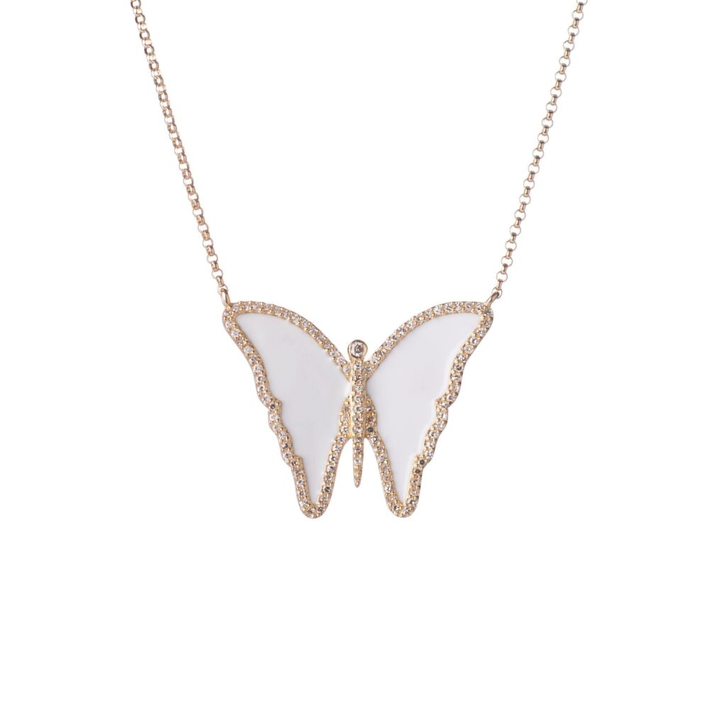 Diamond White Enamel Butterfly Necklace
