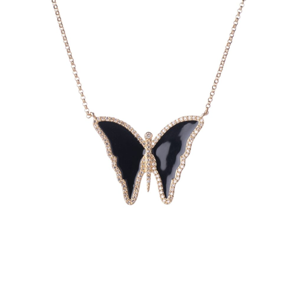 Diamond Black Enamel Butterfly Necklace