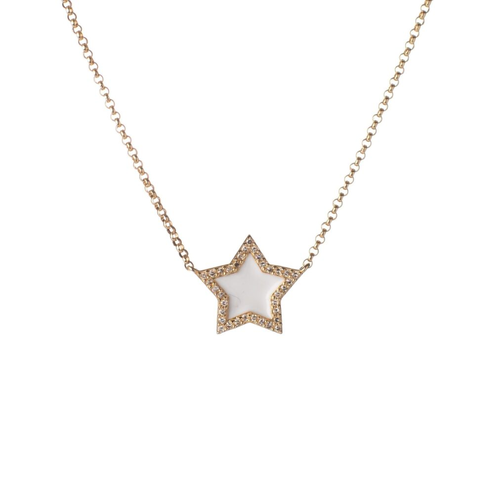 Diamond Mini White Enamel Star Necklace