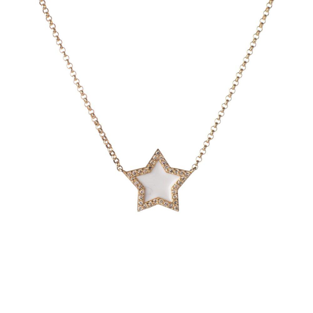 Diamond Mini White Enamel Star Necklace