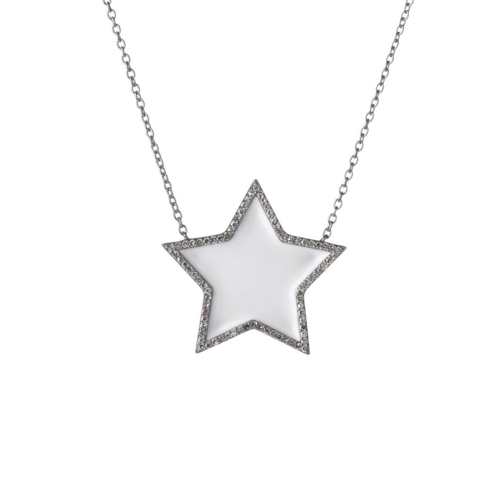 Diamond Super Star White Enamel Necklace