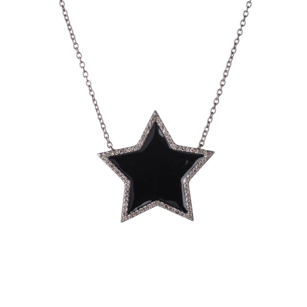 Diamond Super Star Black Enamel Necklace