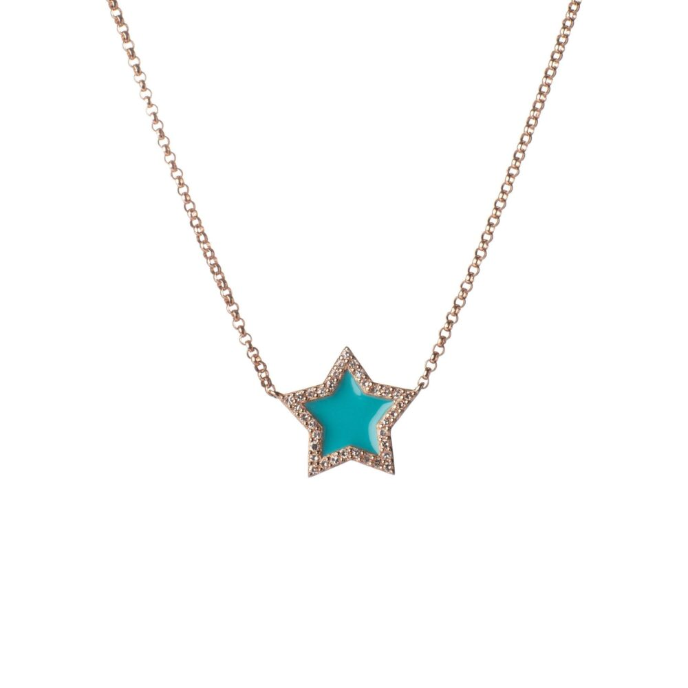 Diamond Mini Turquoise Enamel Star Necklace