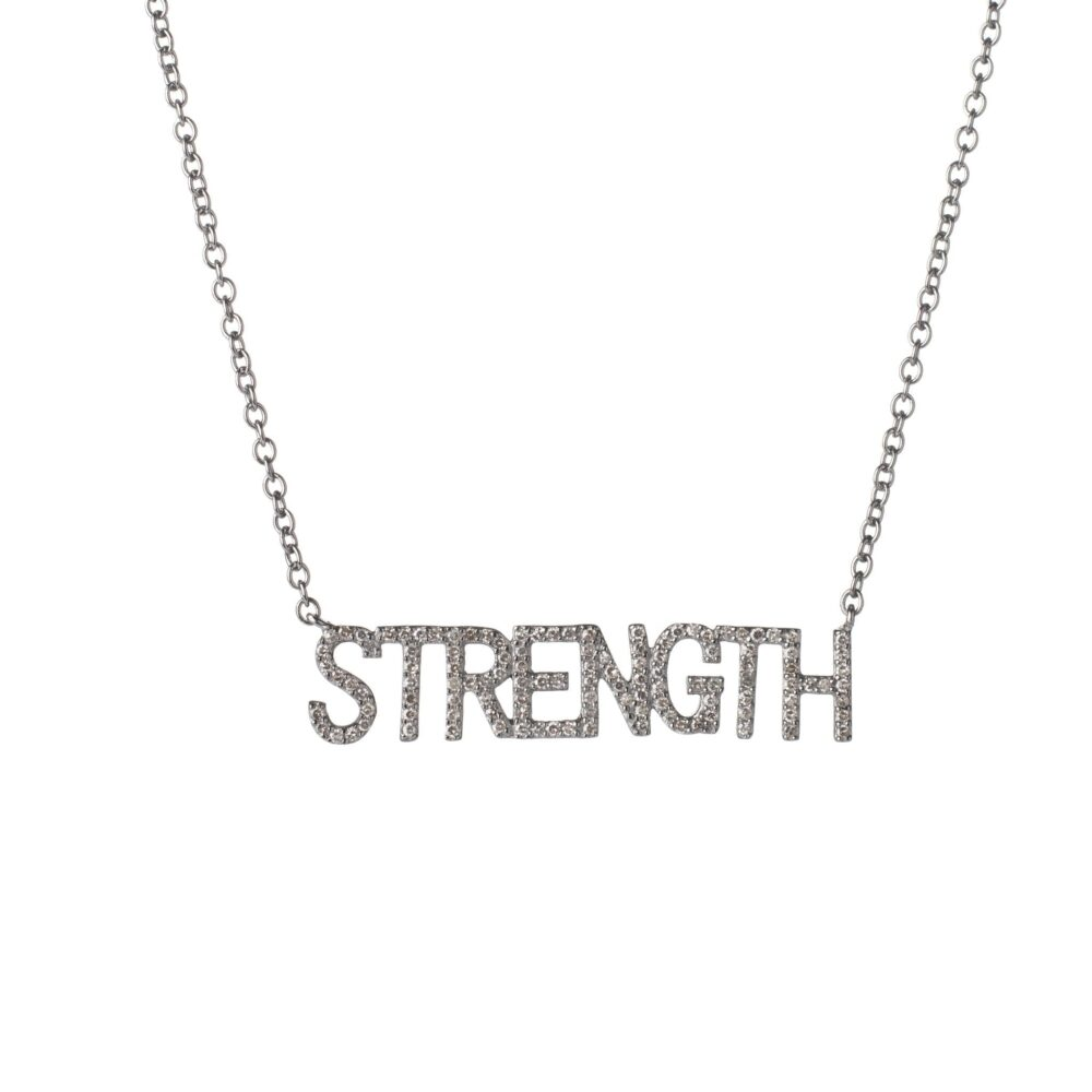 Diamond STRENGTH Mantra Necklace