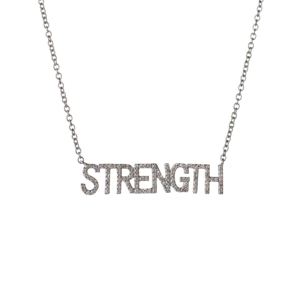 Diamond STRENGTH Mantra Necklace