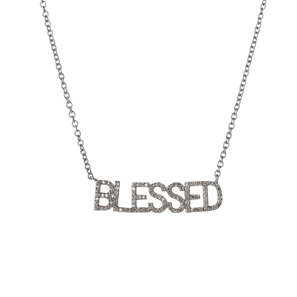 Diamond BLESSED Mantra Necklace