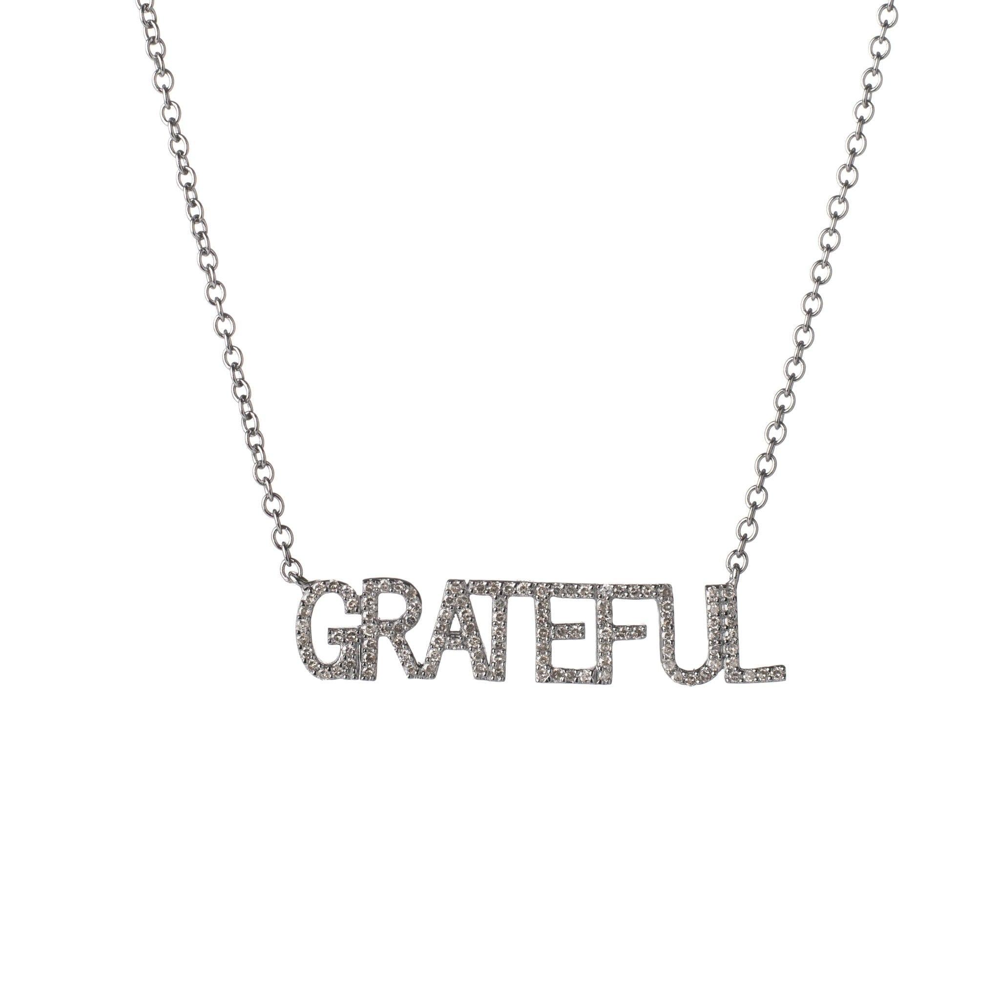 Diamond GRATEFUL Mantra Necklace
