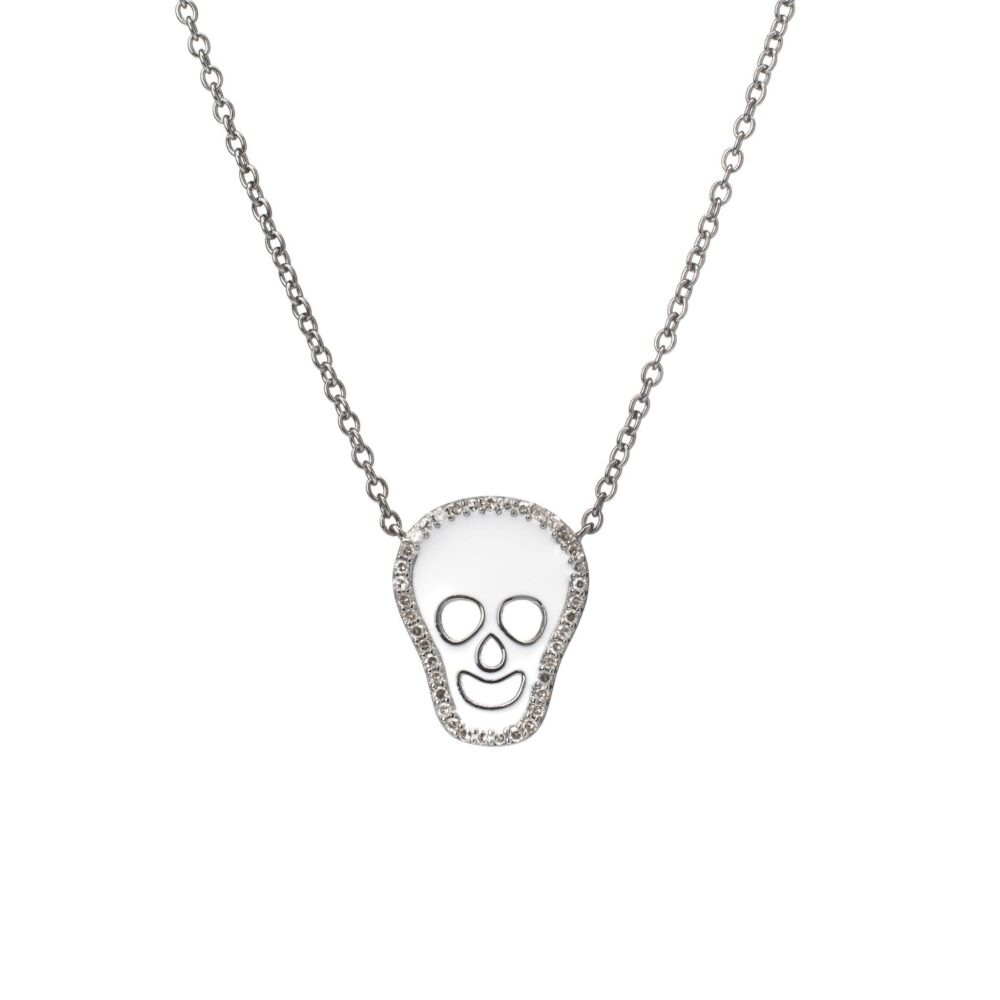 Diamond White Enamel Skull Necklace