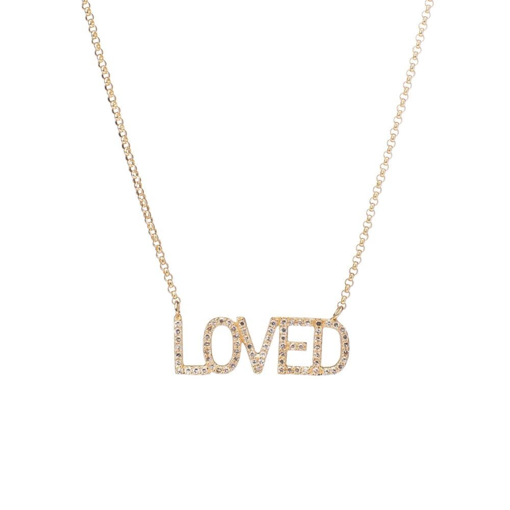 Diamond LOVED Mantra Necklace