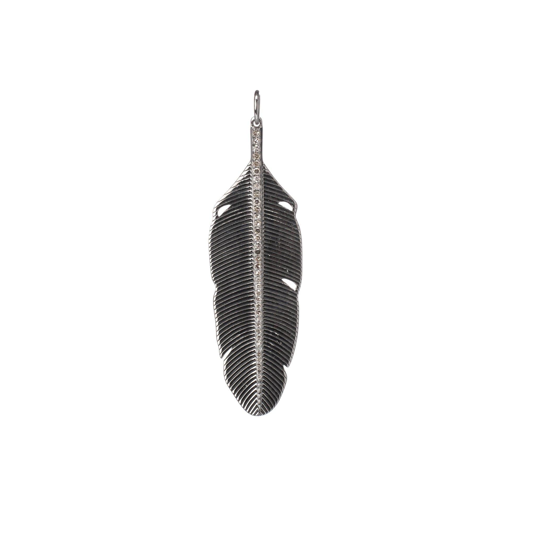 Diamond Feather Charm