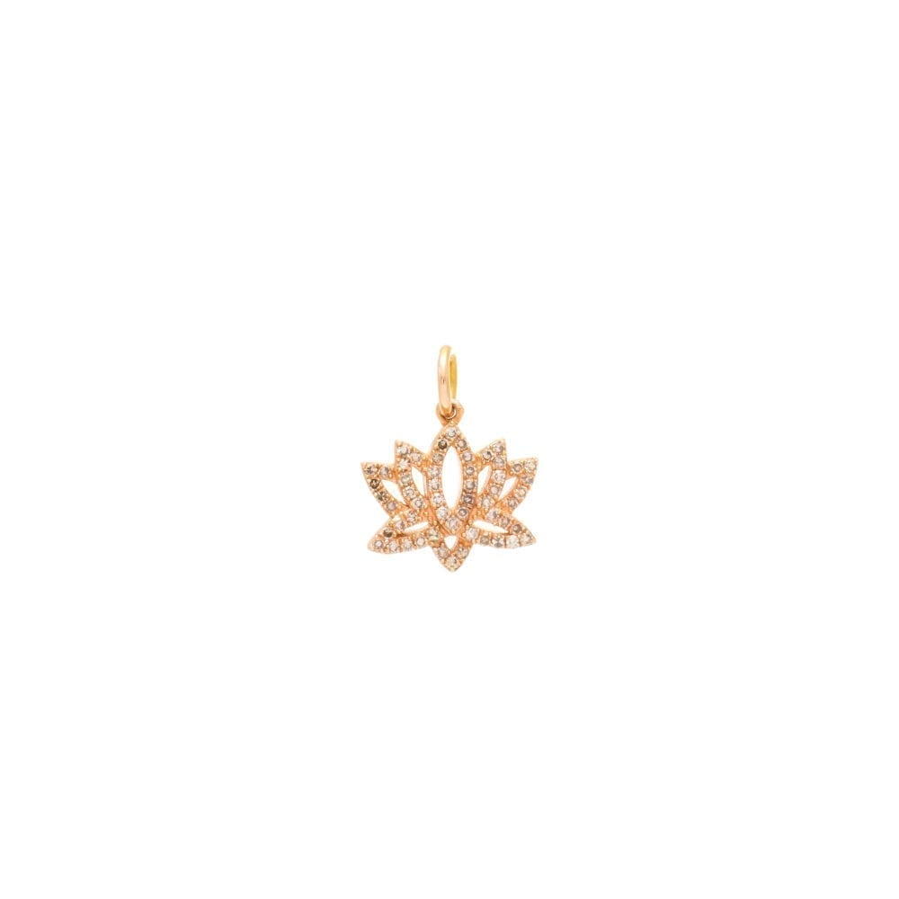 Mini Diamond Lotus Flower Charm Rose Gold