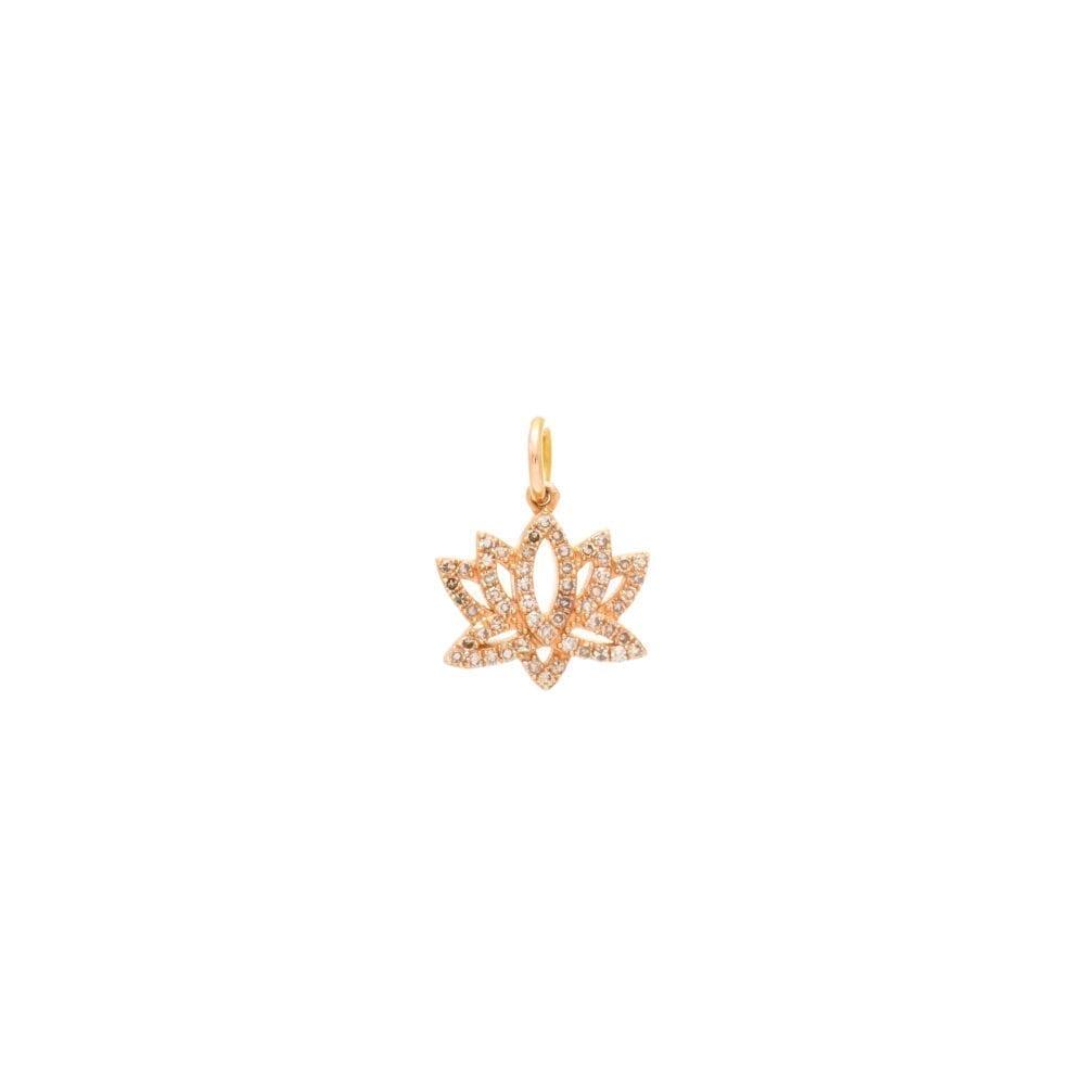 Mini Diamond Lotus Flower Charm Rose Gold