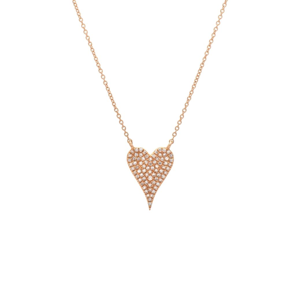 Modern Diamond Mini Heart Necklace Rose Gold