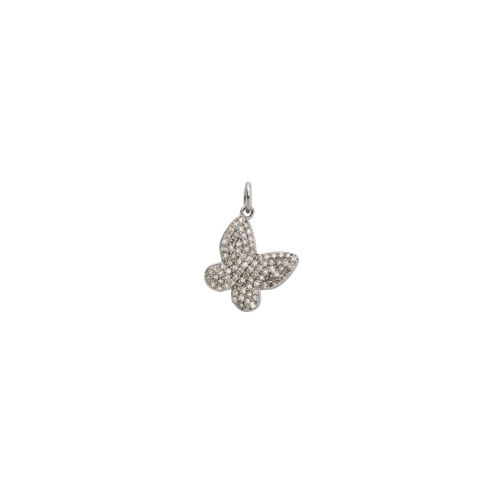 Small Diamond Butterfly Charm Sterling Silver