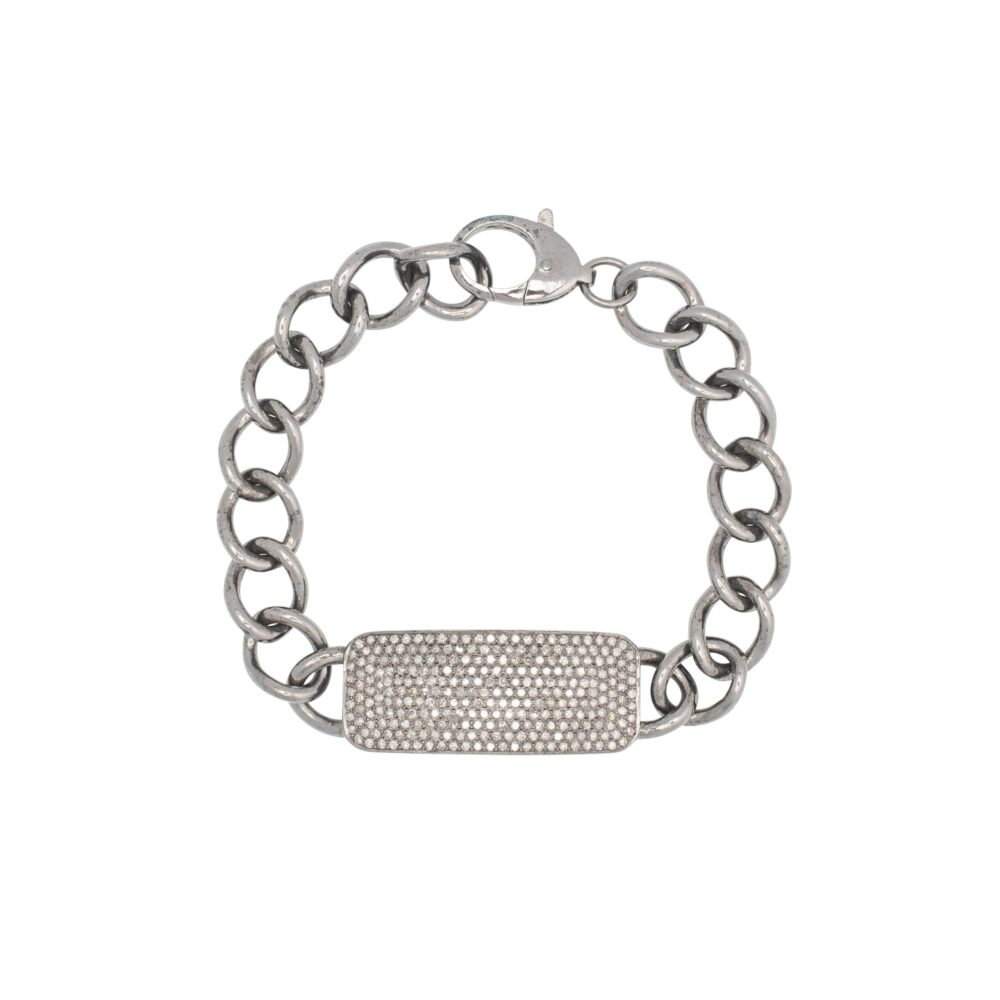 Chunky Diamond ID Bracelet Sterling Silver