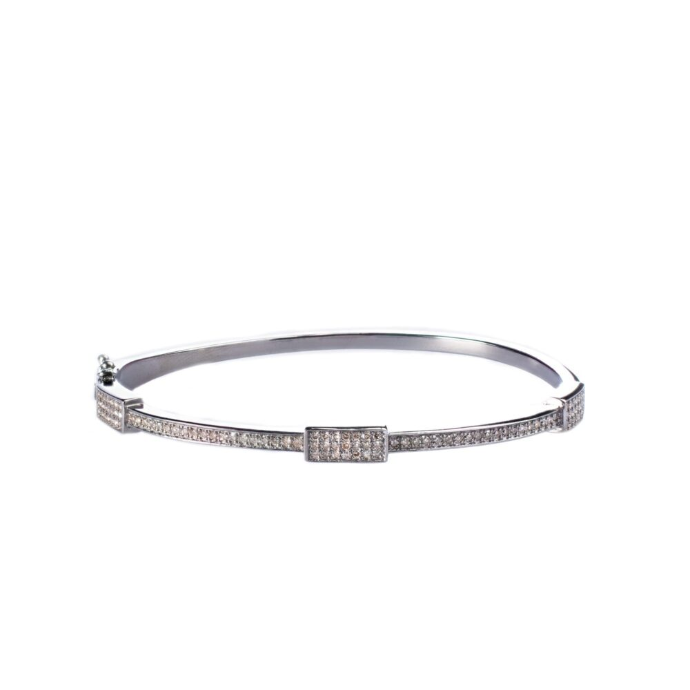 Pave Diamond Rectangle Bangle