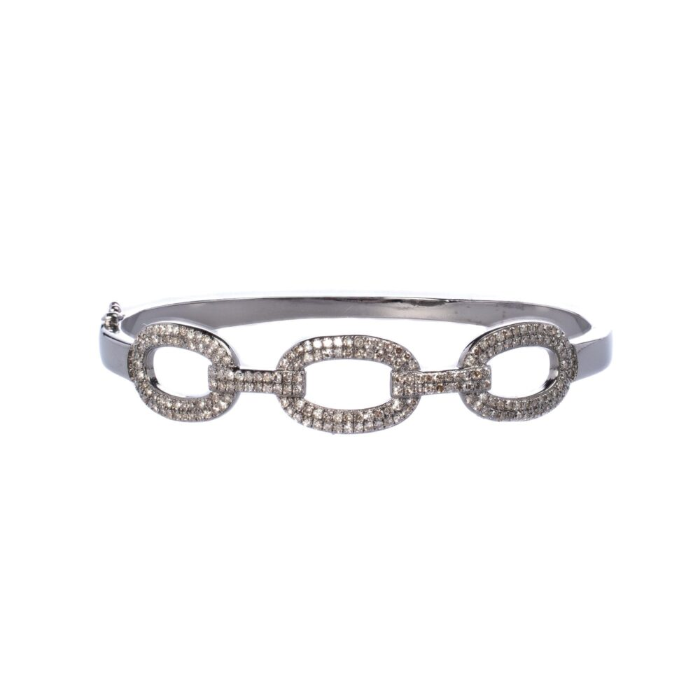 Diamond Oval Link Bangle
