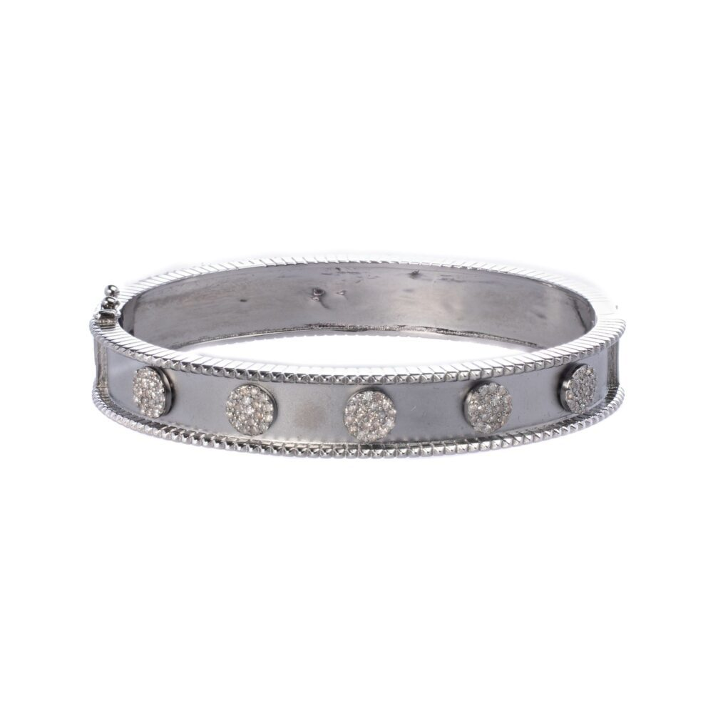 Wide Diamond Disc Frame Bangle