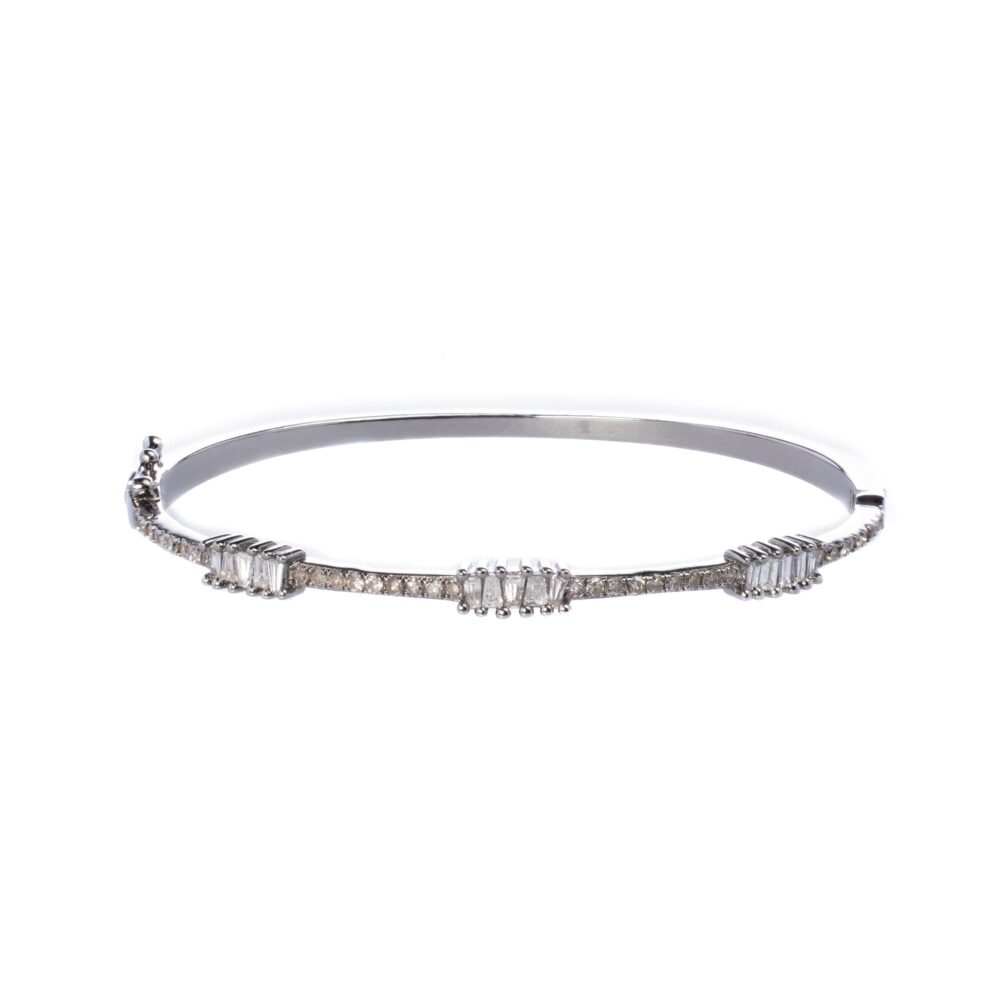 Triple Baguette + Pave Diamond Bangle