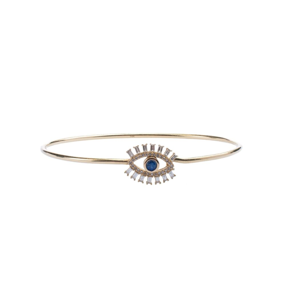Diamond + Sapphire Eyelash Bangle