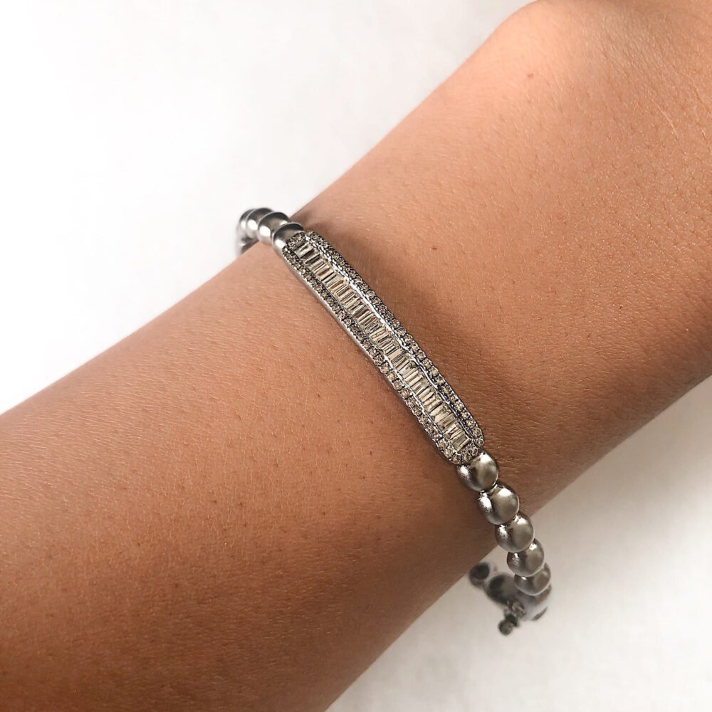 Diamond Baguette Beaded Bangle