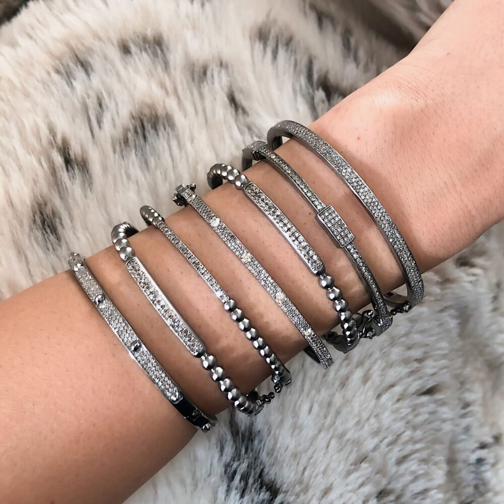 Diamond Bar Beaded Bangle