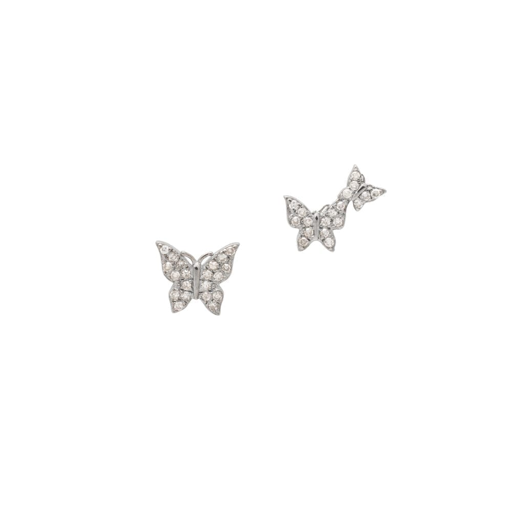 Diamond Butterfly Duo Studs Silver