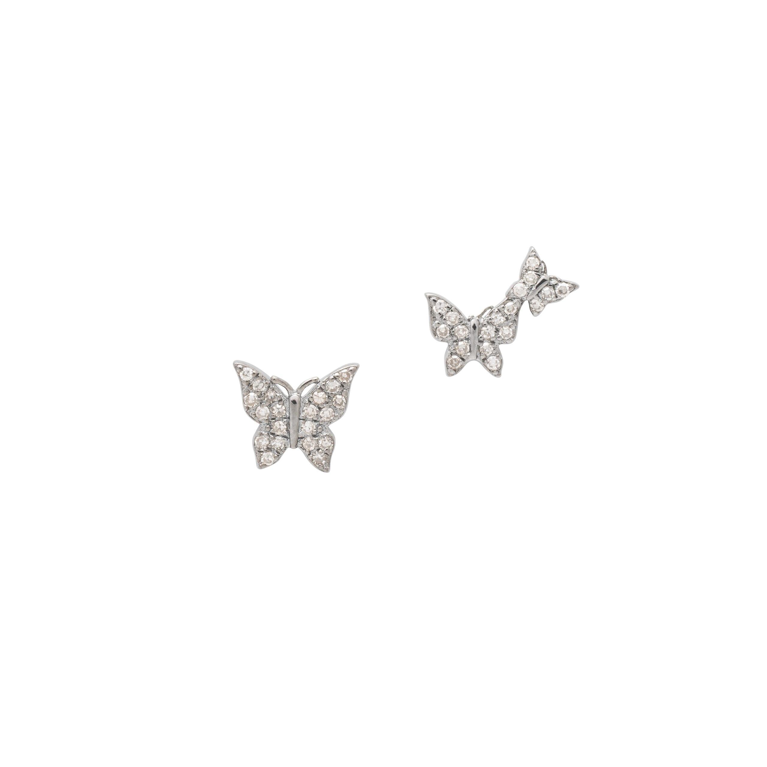 Diamond Butterfly Duo Studs Silver