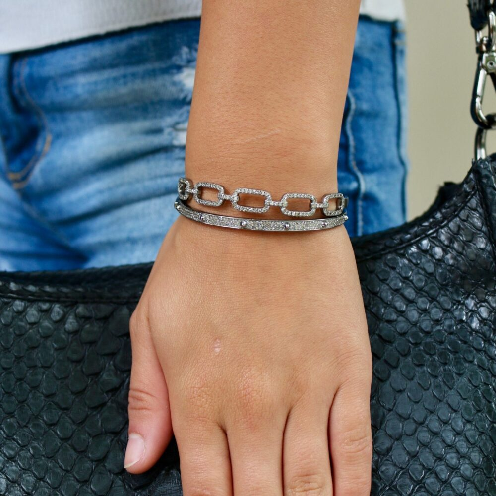 Diamond Cable Link Bangle