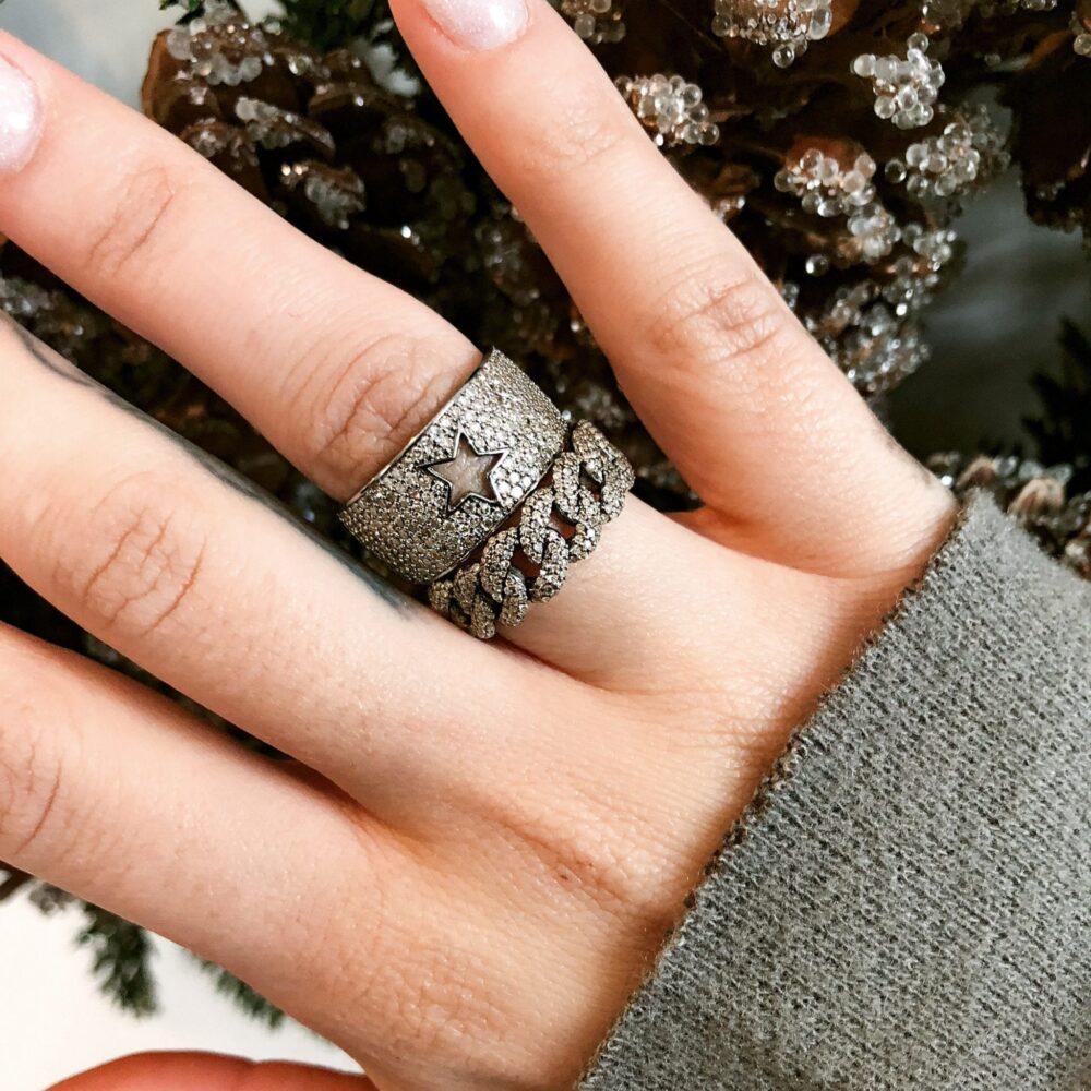 Diamond Chain Link Ring