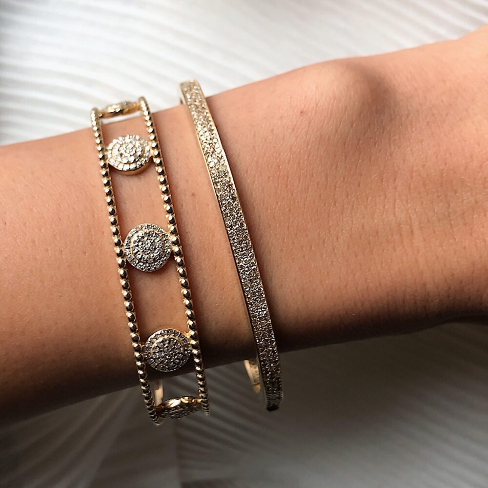 Diamond Circle Cuff Gold