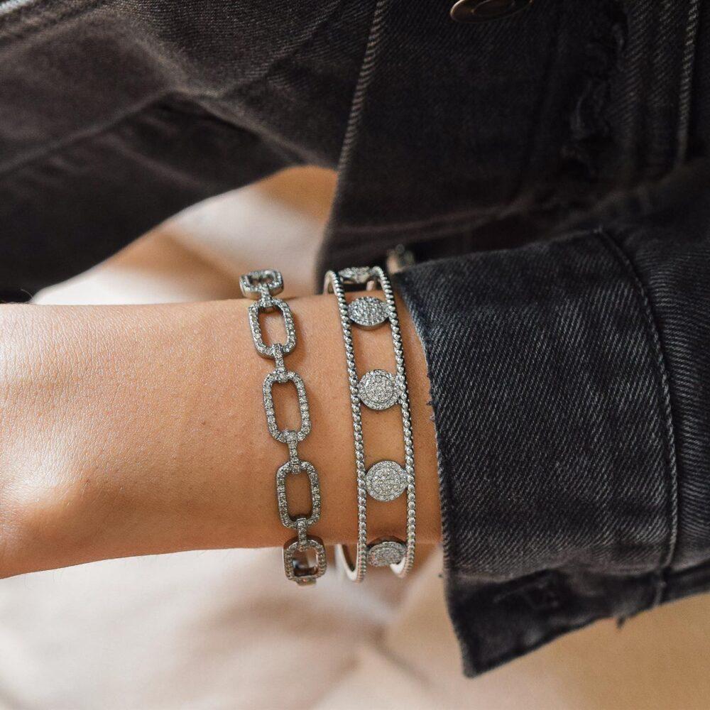 Diamond Circle Cuff Silver