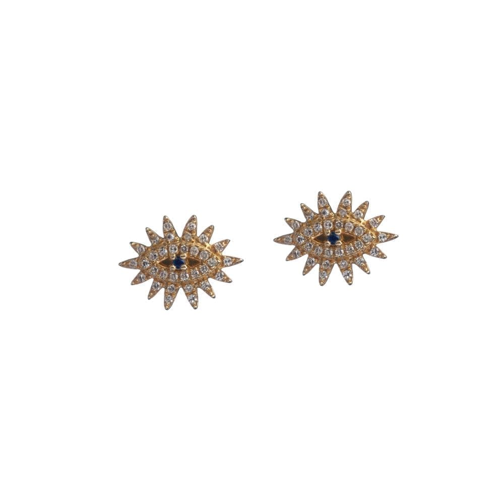 Diamond Eyelash Studs with Sapphire Yellow Gold