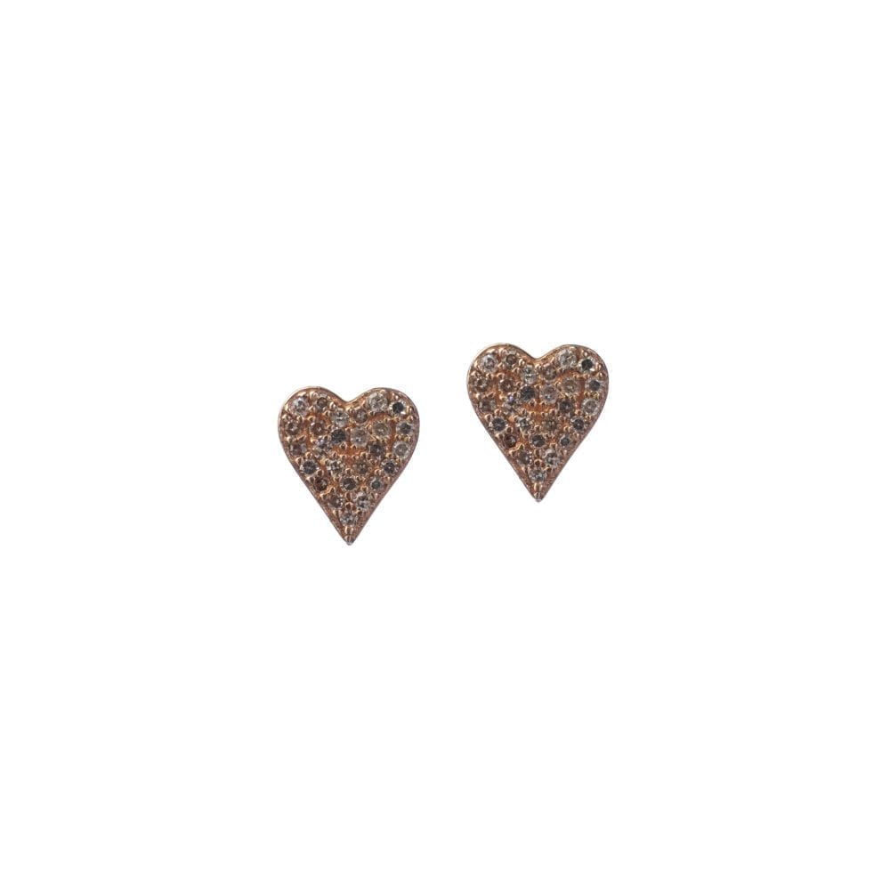 Diamond Heart Studs Rose Gold