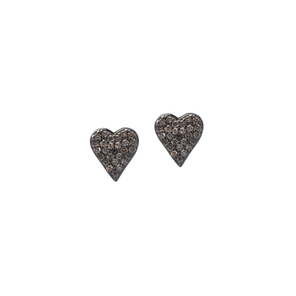 Diamond Heart Studs Sterling Silver