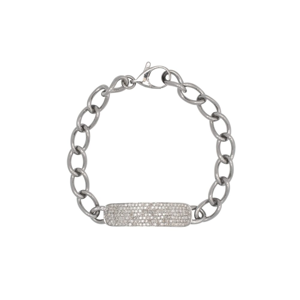 Diamond ID Bracelet Sterling Silver