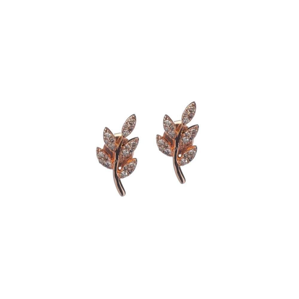 Diamond Leaf Studs Rose Gold