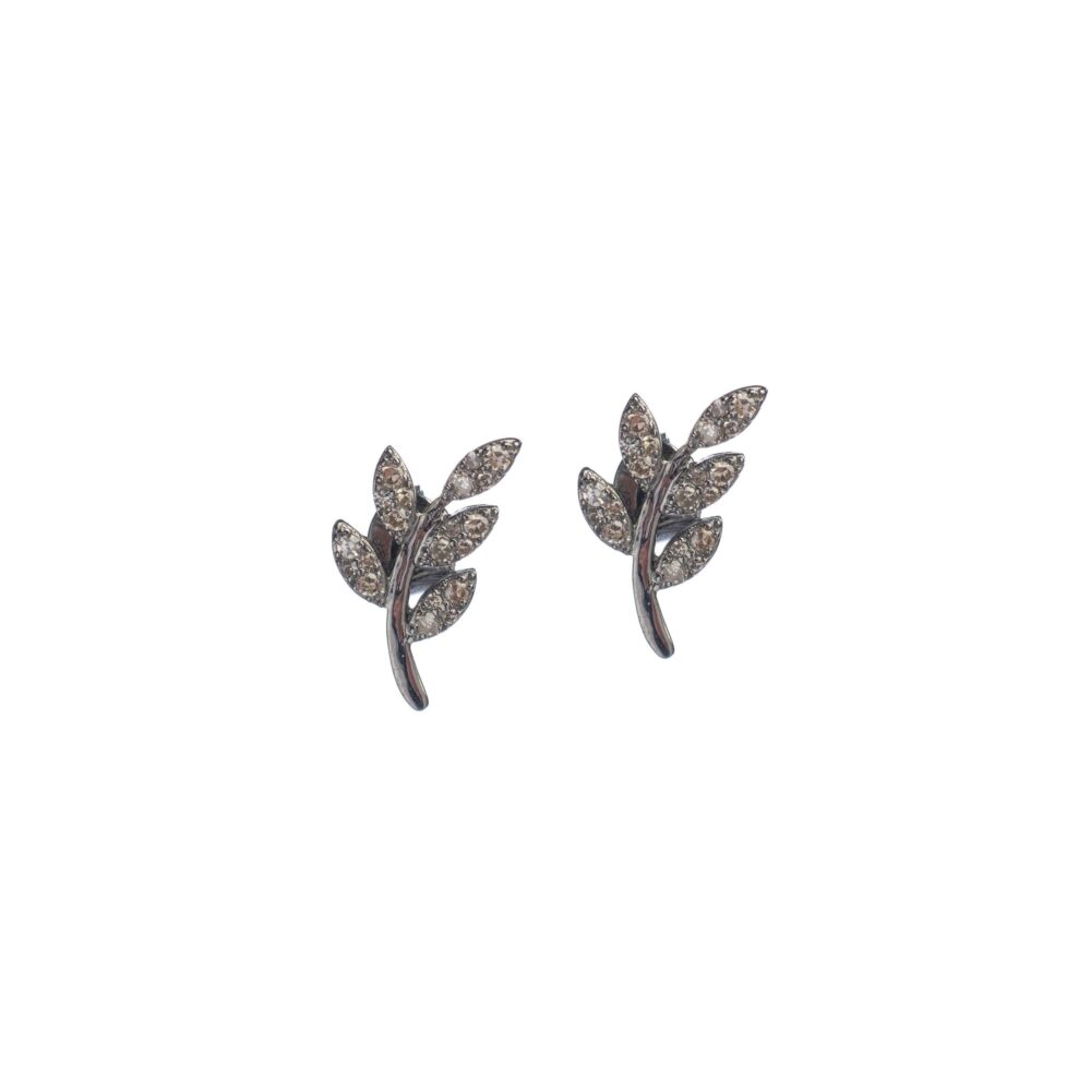 Diamond Leaf Studs Sterling Silver