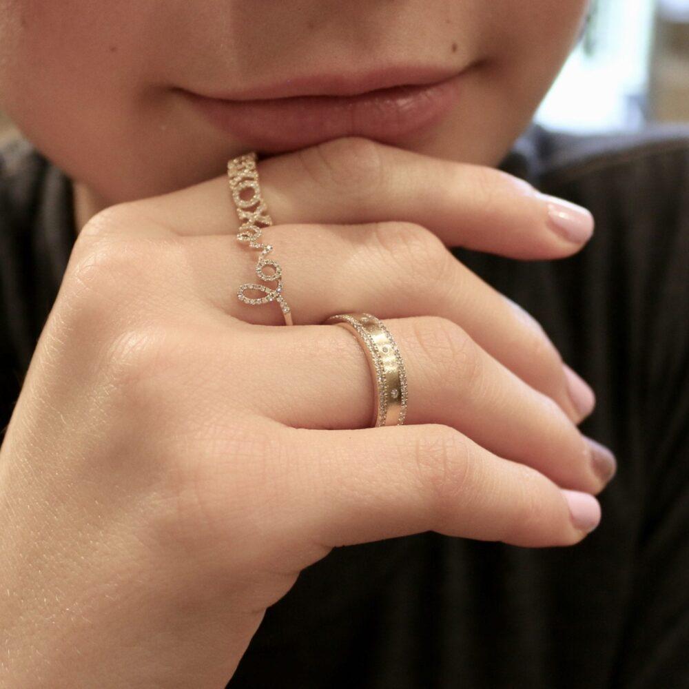 Diamond Love Script Ring