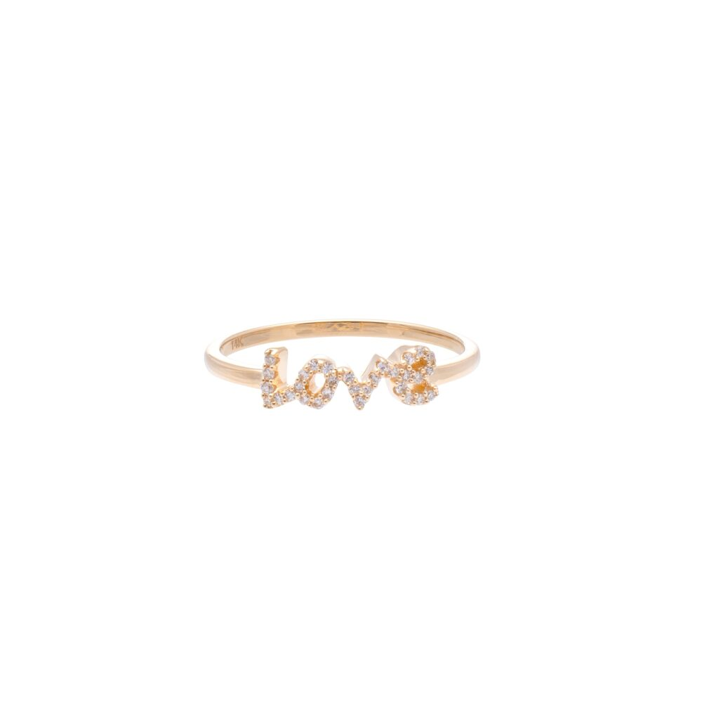 Diamond Love Script Ring Yellow Gold